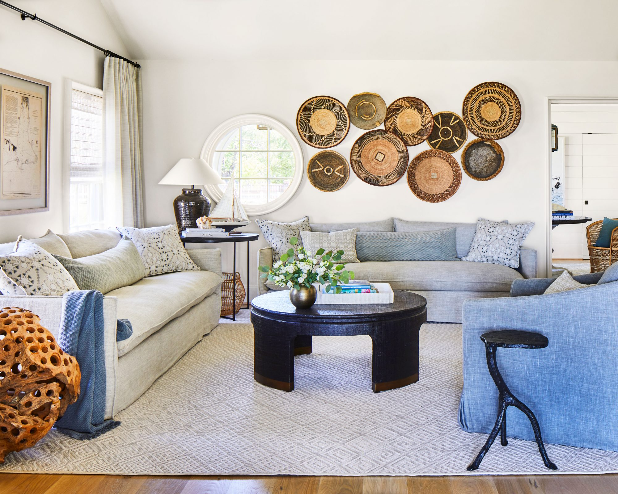 Coastal family room with neutral seating