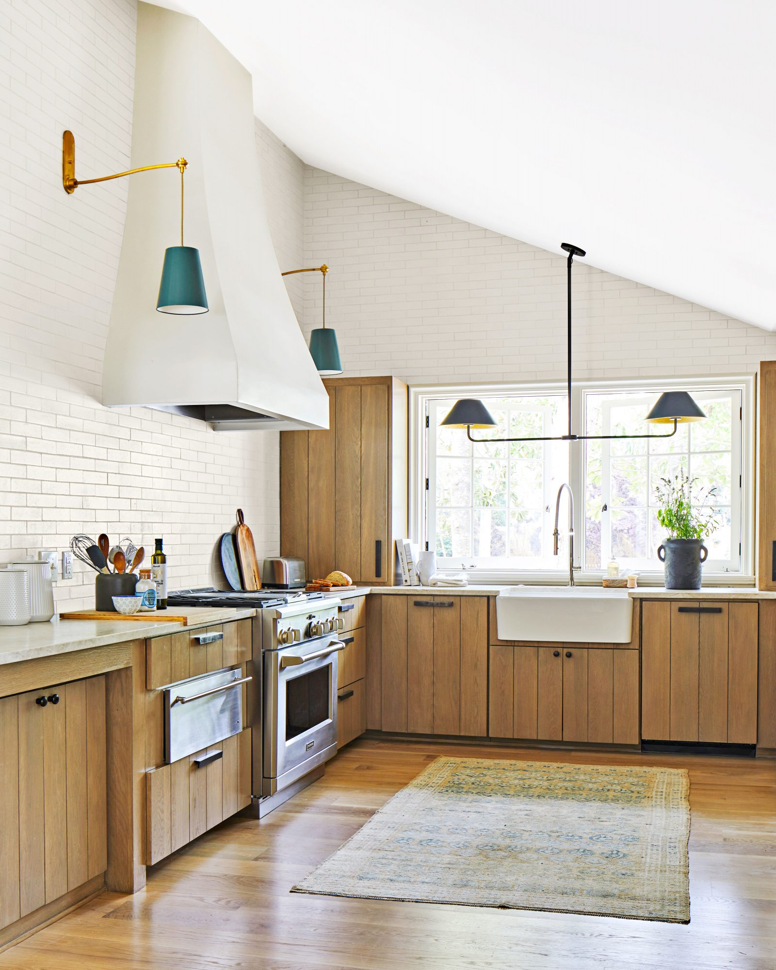 Natural wood cabinetry kitchen