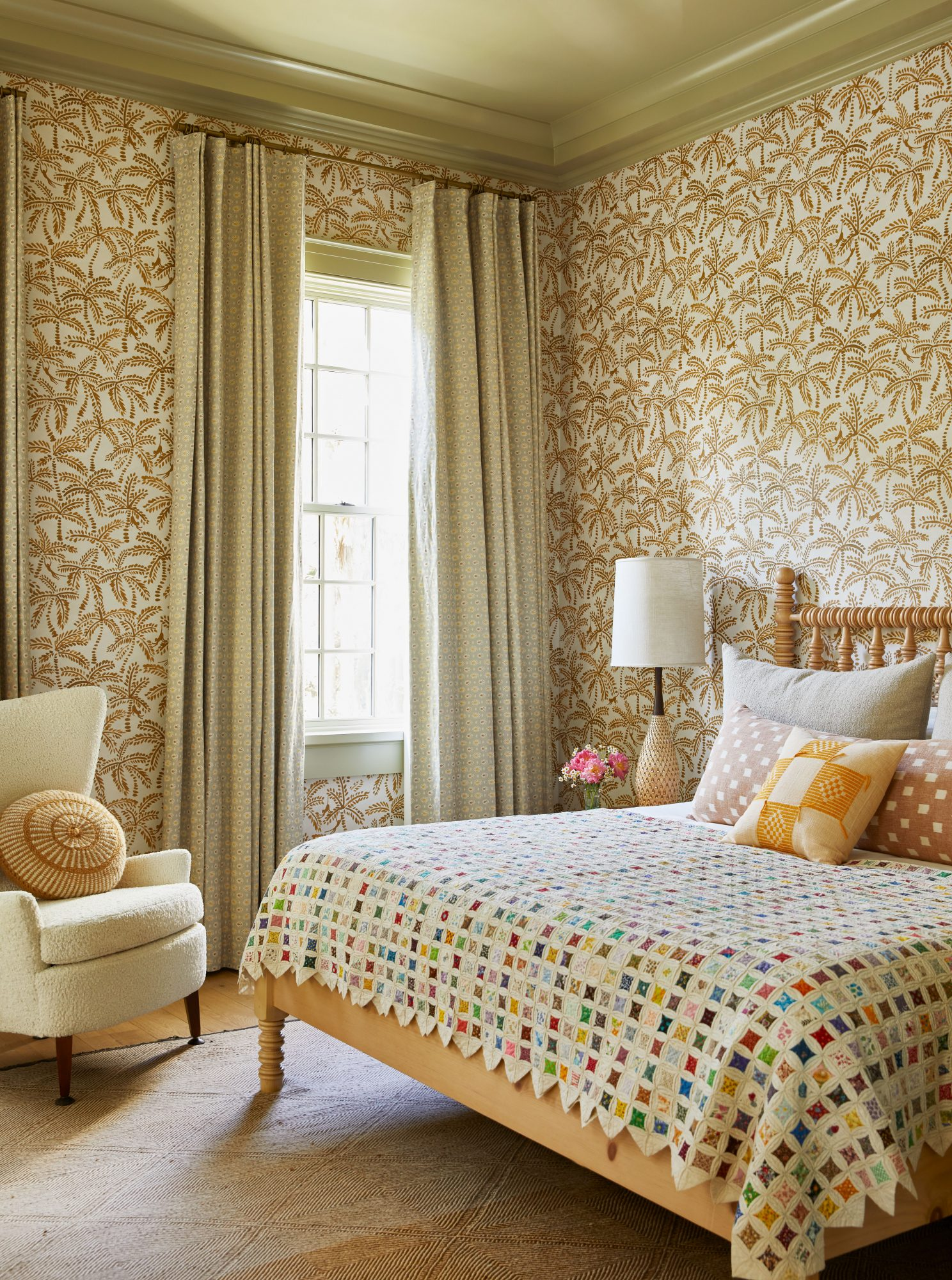 Coastal Guest Bedroom with Lots of Neutral Patterns