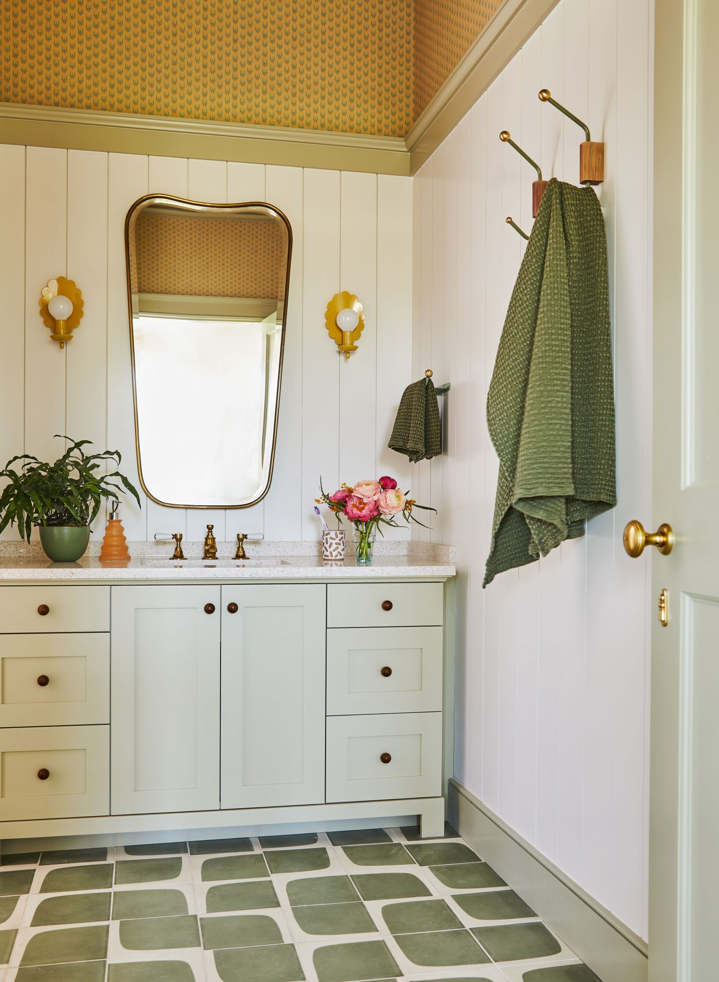 Coastal Guest Bathroom with Green Accents
