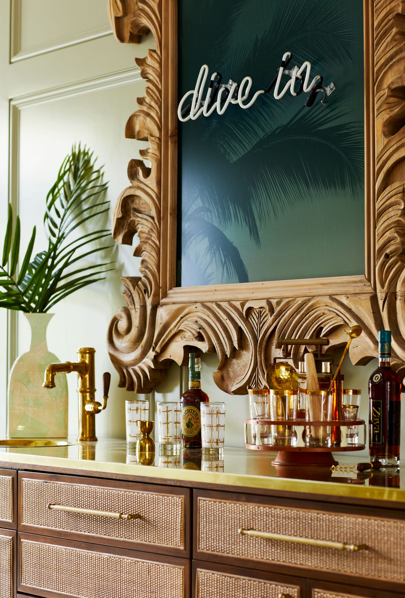 Credenza Styled Wet Bar in Traditional House