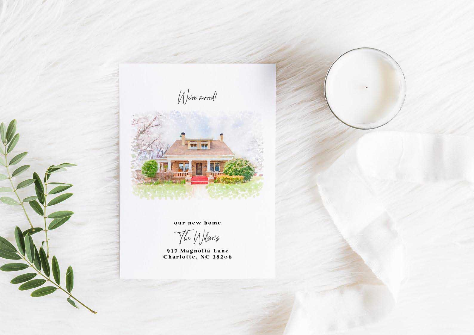 Watercolor Moving Card