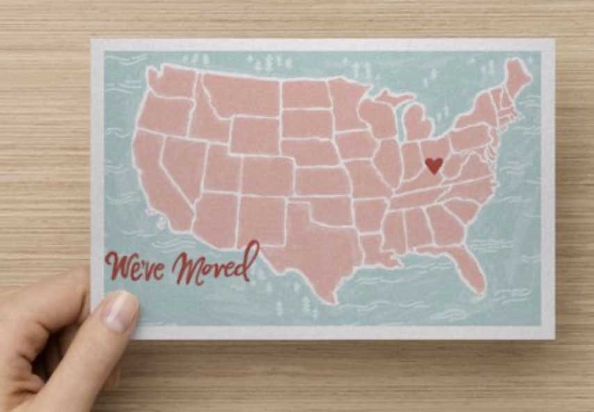 We've Moved Map Card