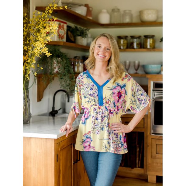 The Pioneer Woman Woven Crepe Blouse with Tie Sleeves