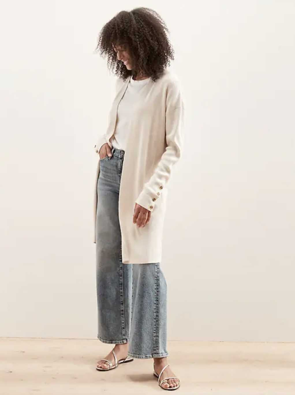 Long Ribbed Open-Front Cardigan