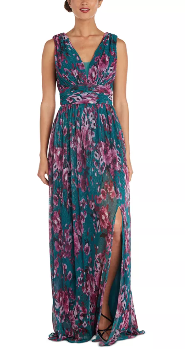 Nightway Floral Pleated Gown