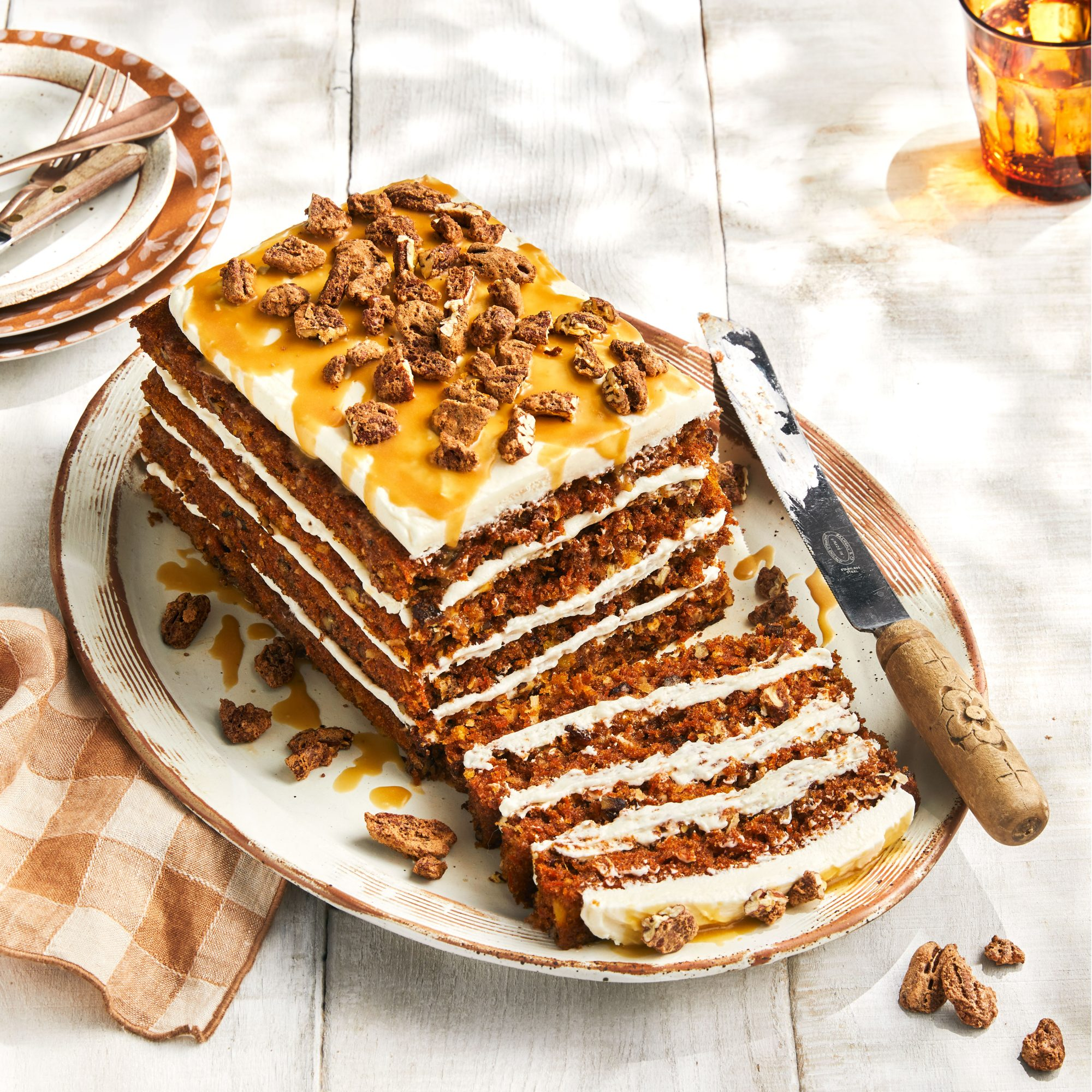 Erika Kwee's Spiced Carrot Cake with Candied Pecans and Caramel Sauce