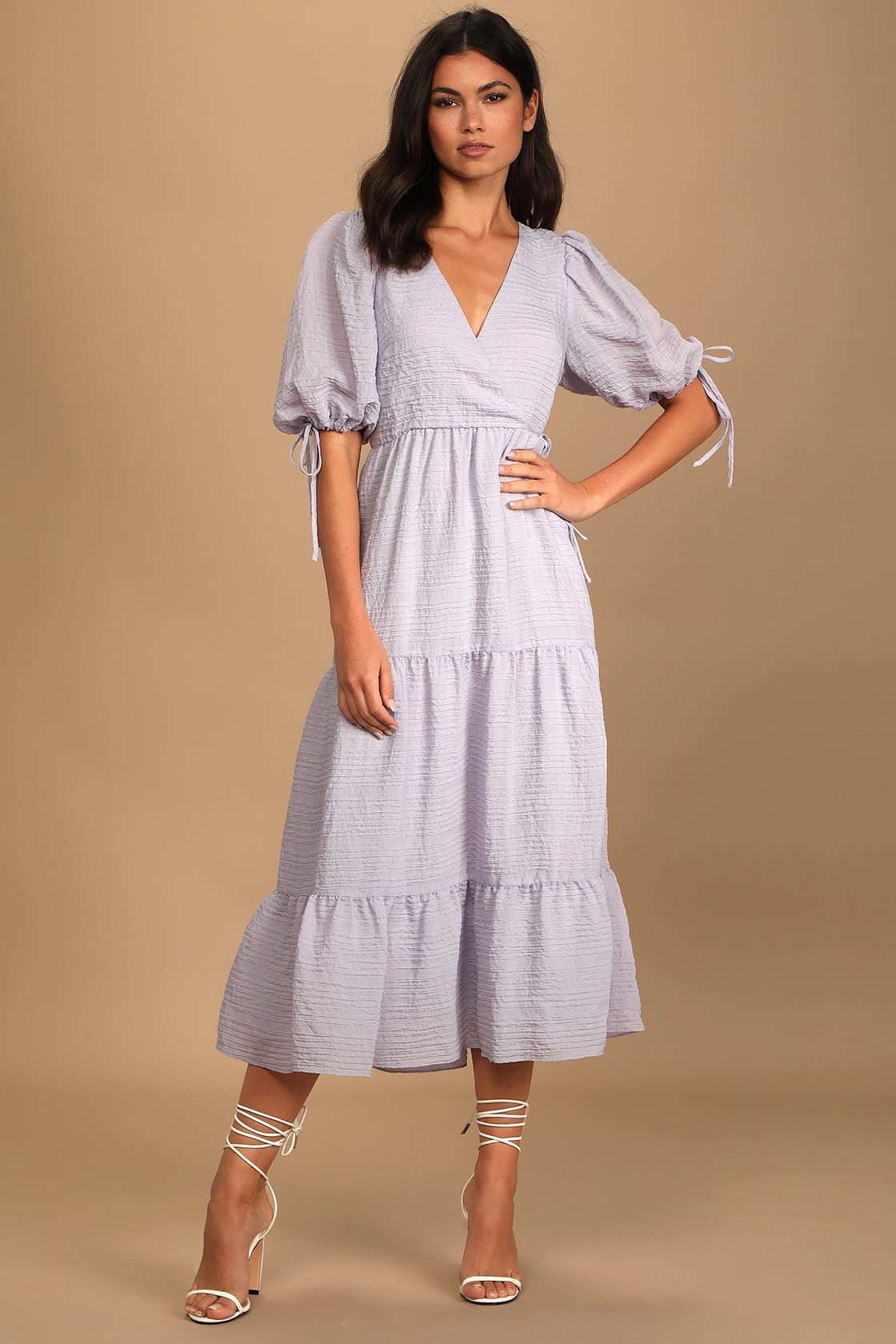 Lulus Capture Your Heart Lavender Tiered Puff Sleeve Midi Dress