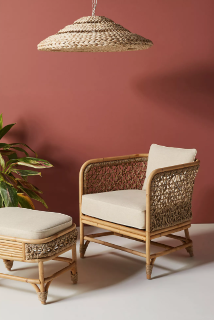 Rattan Chair and Foot stool
