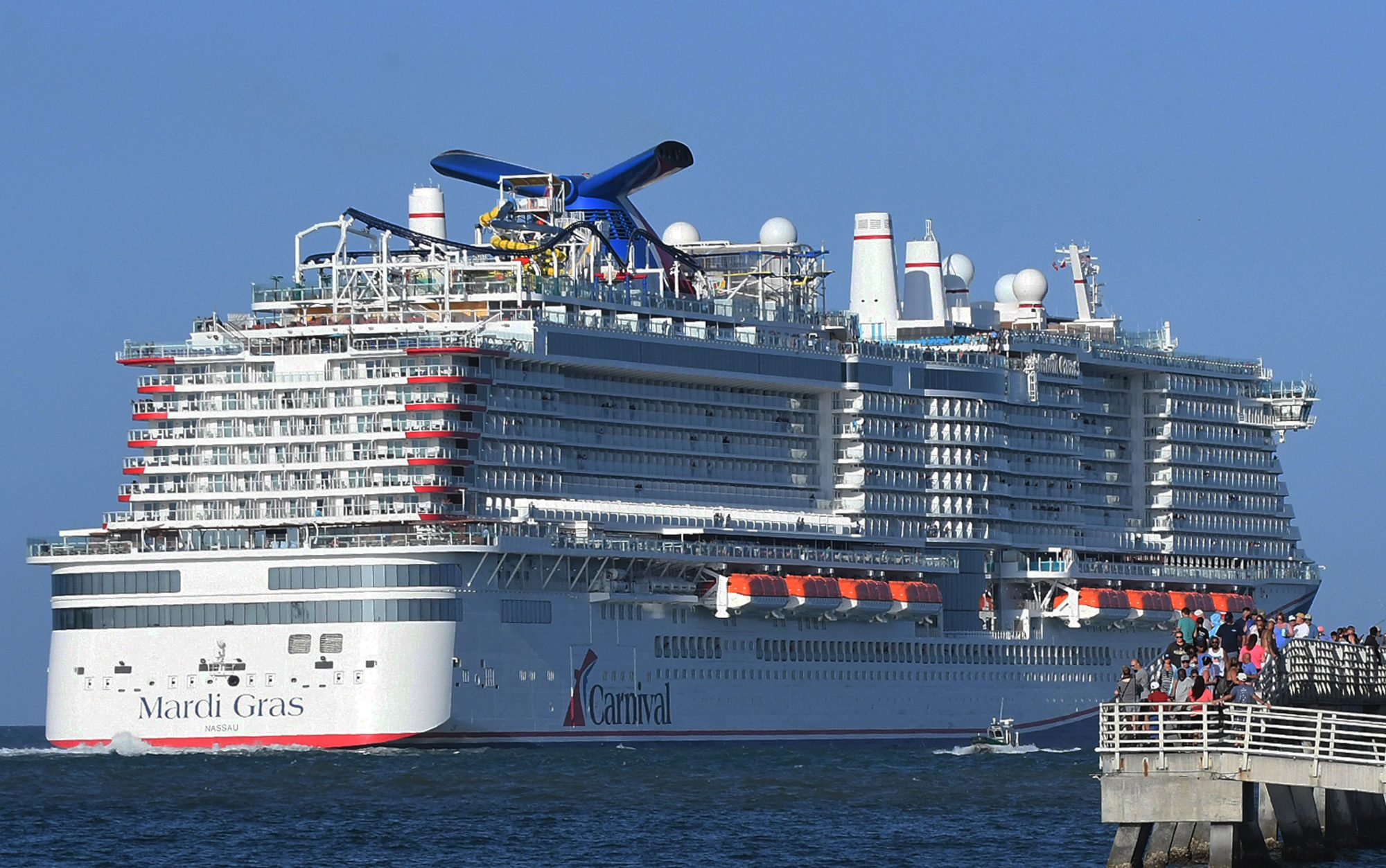 Carnival Mardi Gras cruise ship departs from Port Canaveral
