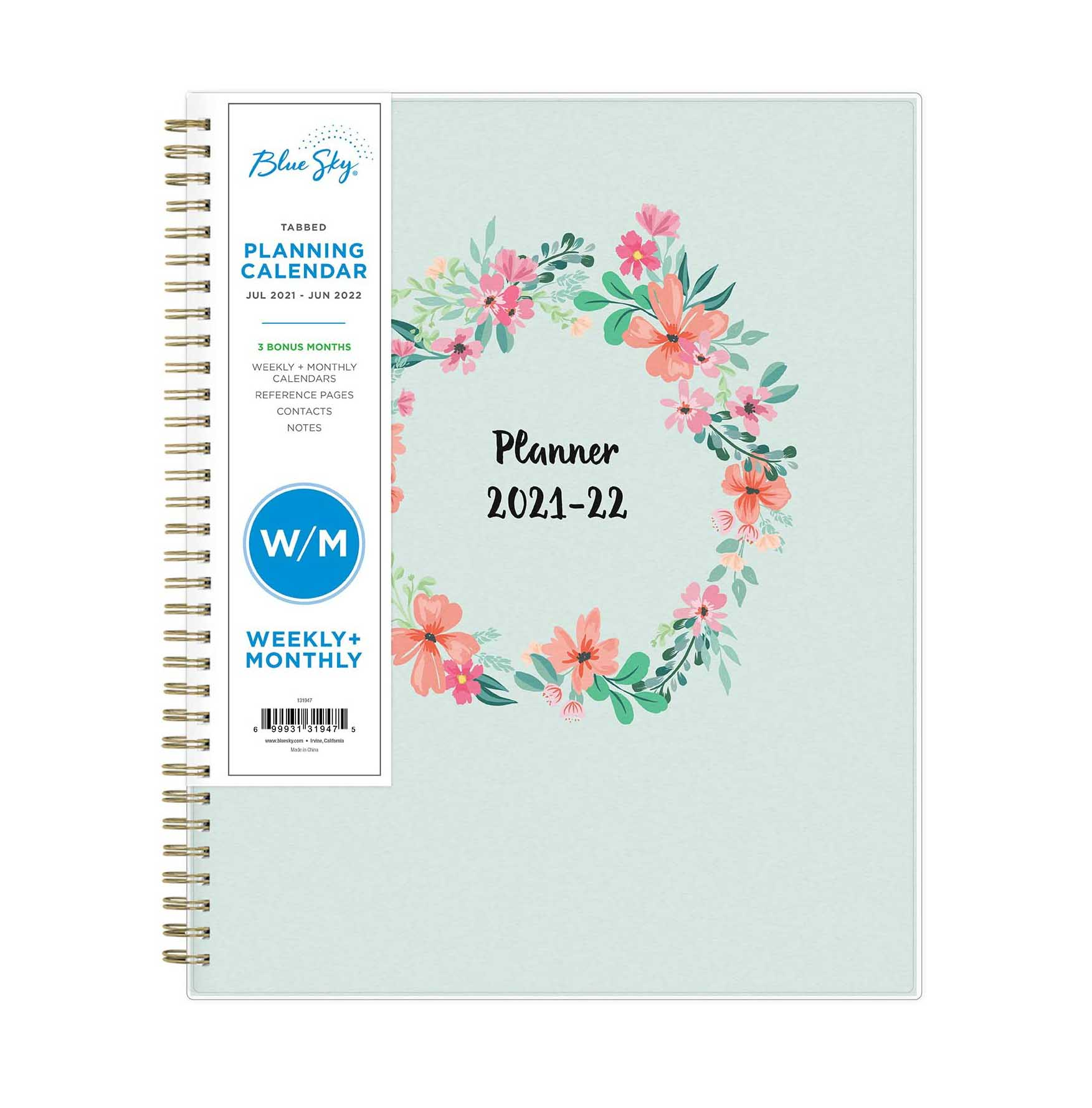 Blue Sky 2021-2022 Academic Year Weekly & Monthly Planner
