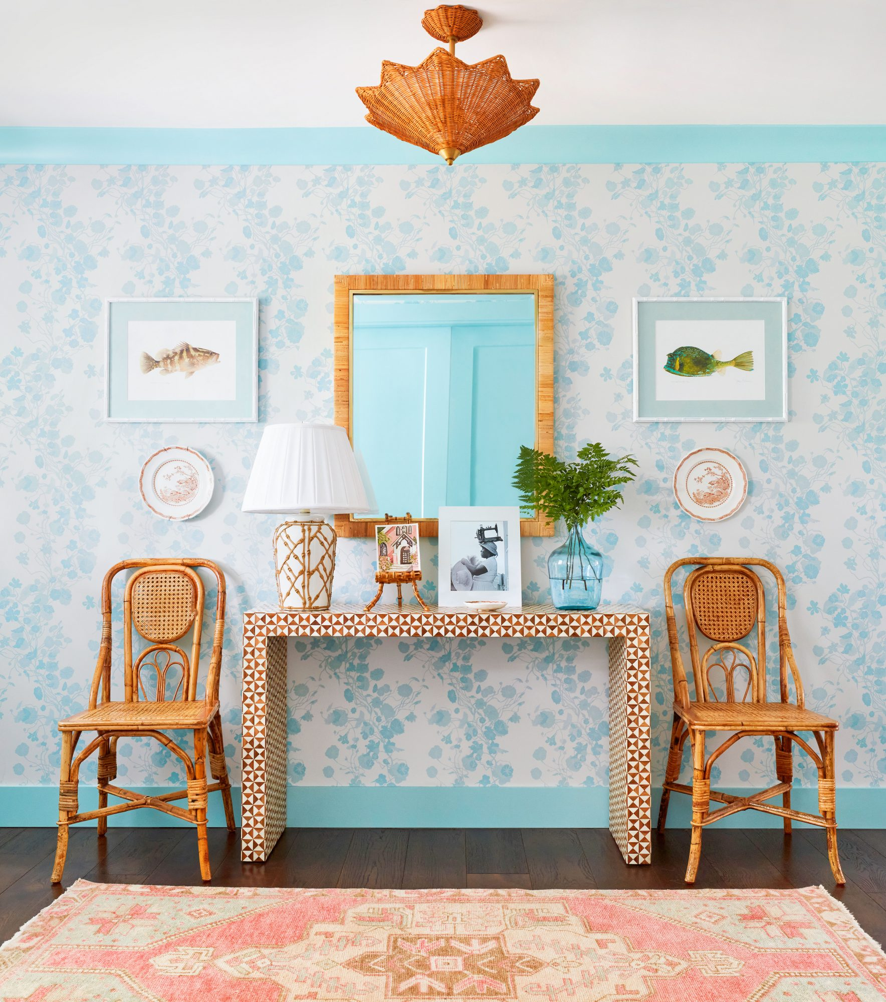 Entryway with Teal Wallpaper and Molding