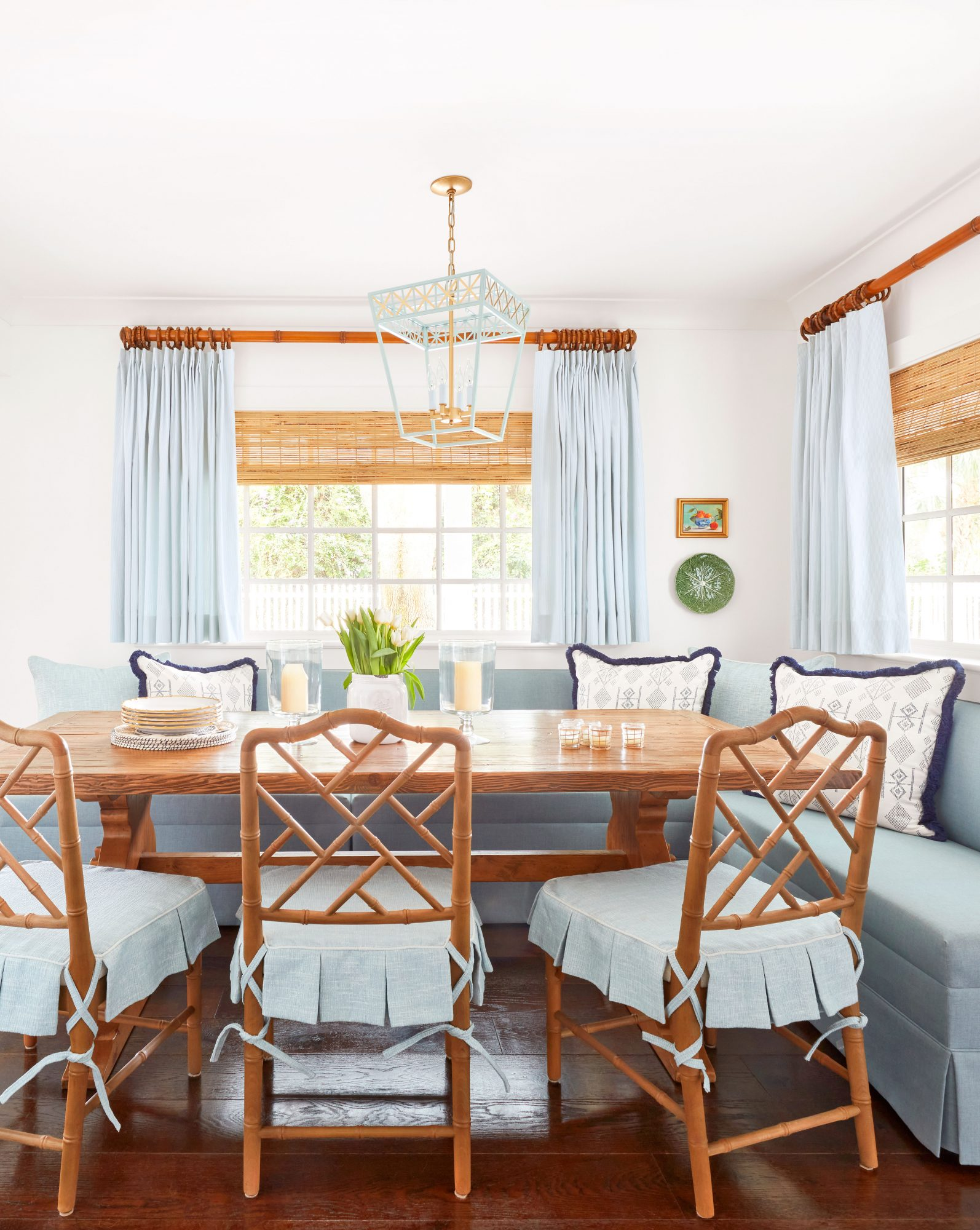 Banquet Dining Area in Blue and White