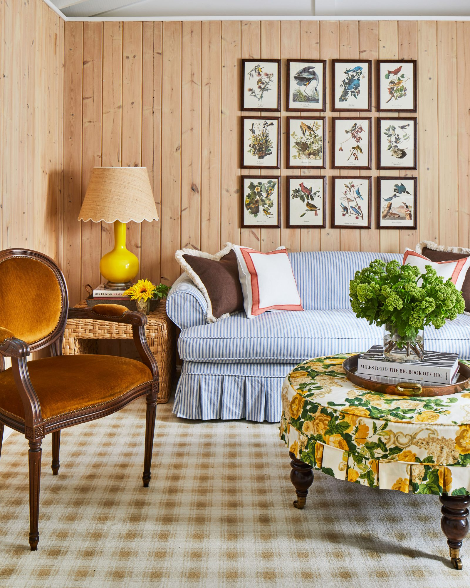 Mountain House Sitting Room with light wood paneled walls