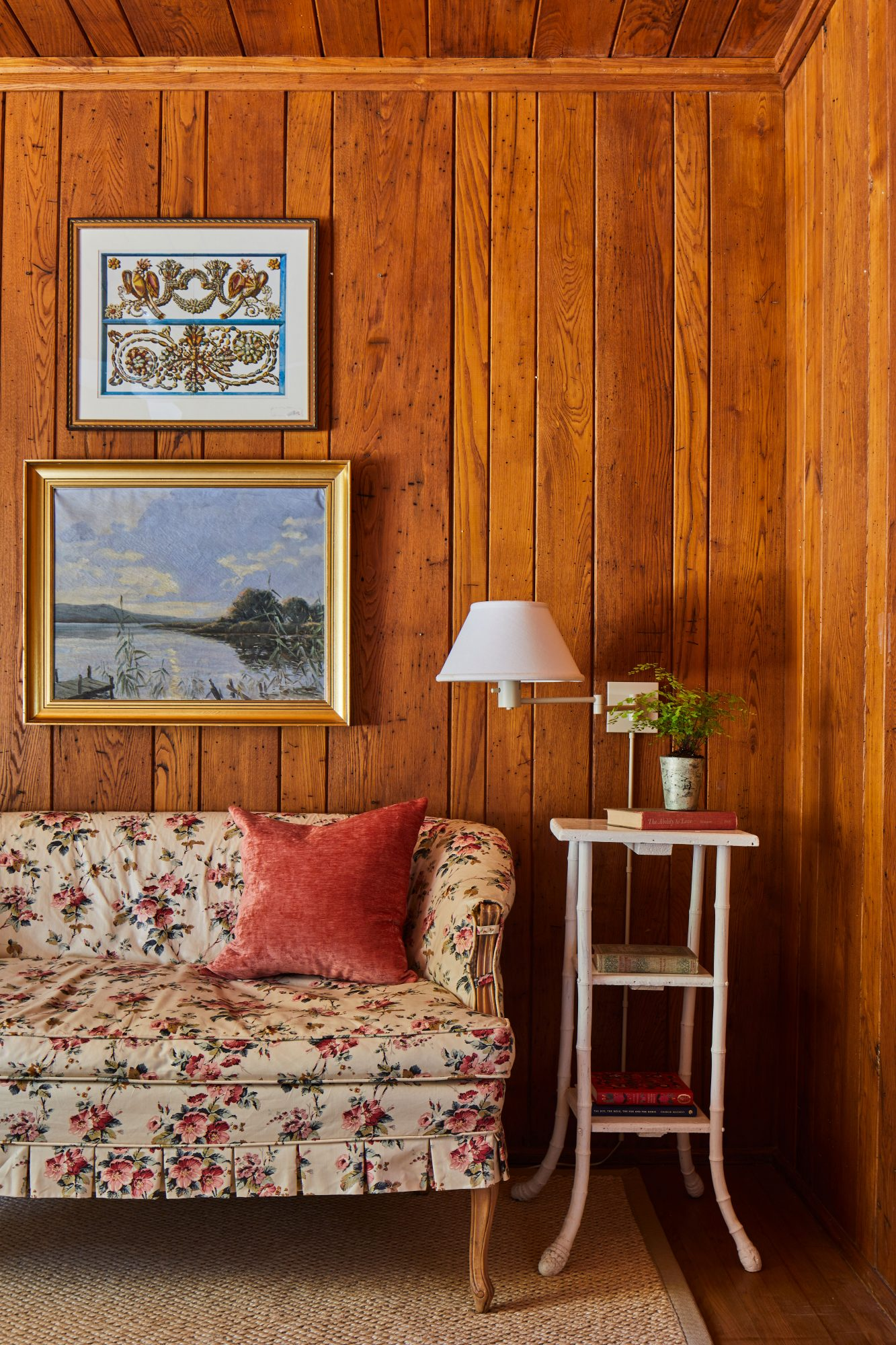 Mountain House Guest Bedroom with Wood Paneled Walls