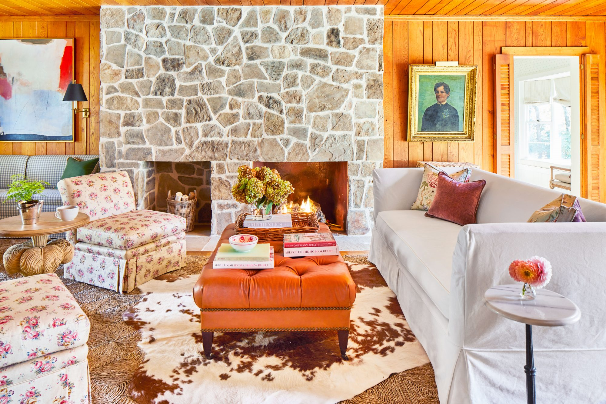 Mountain House Wood Panel Living room with stone fireplace