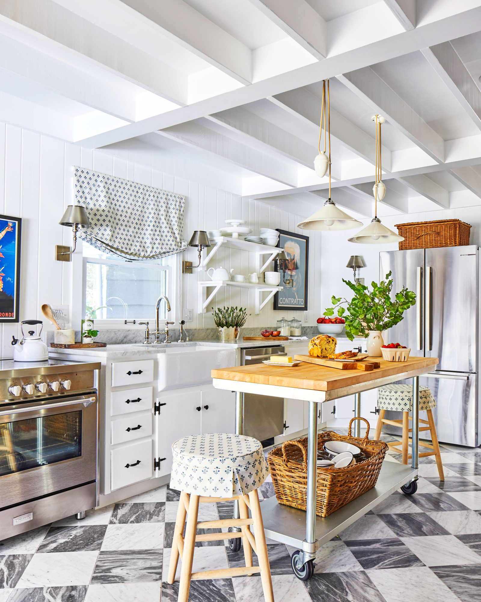 European Style Kitchen with opening shelving and moving island