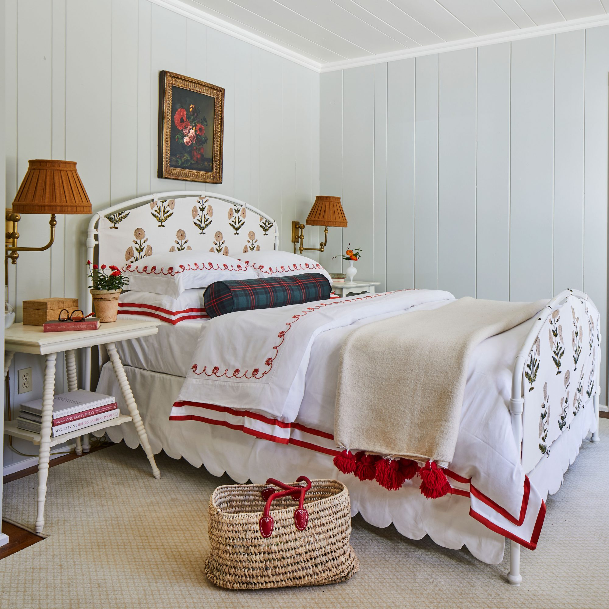 Mountain House Main Bedroom with Gray Walls and Red Accents