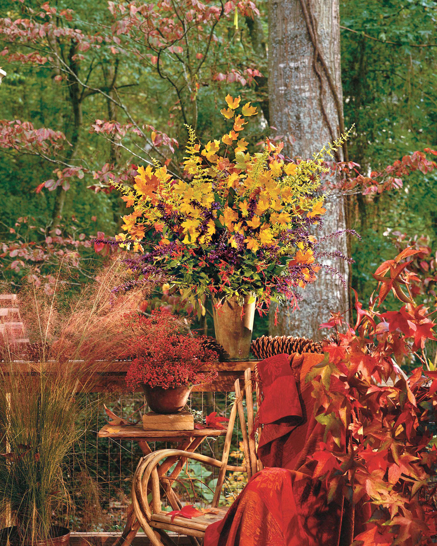 Fall Floral Arrangement with Branches and Foliage