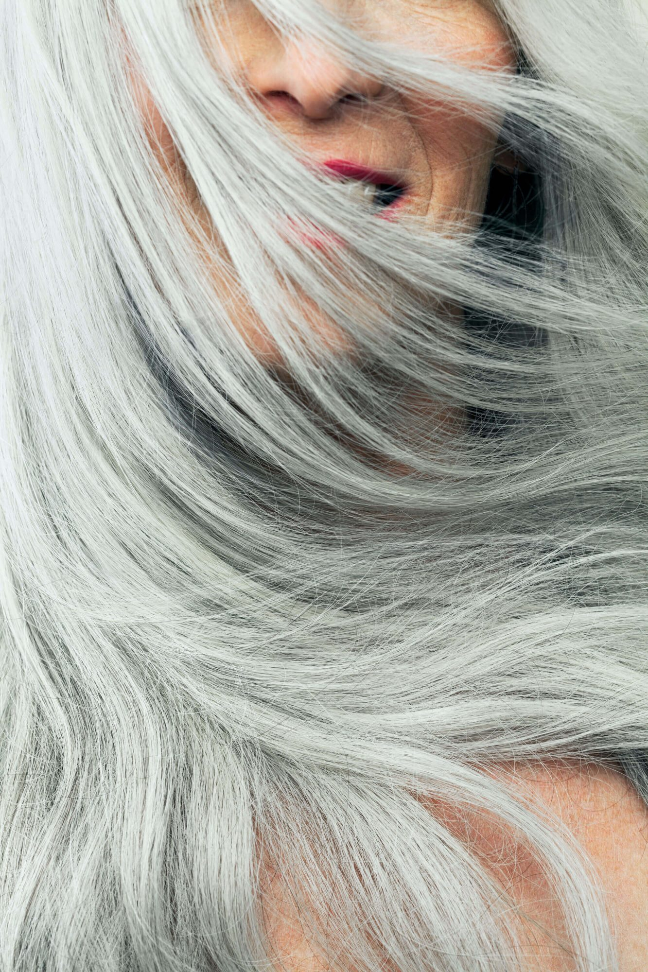 woman with silver ash grey hair