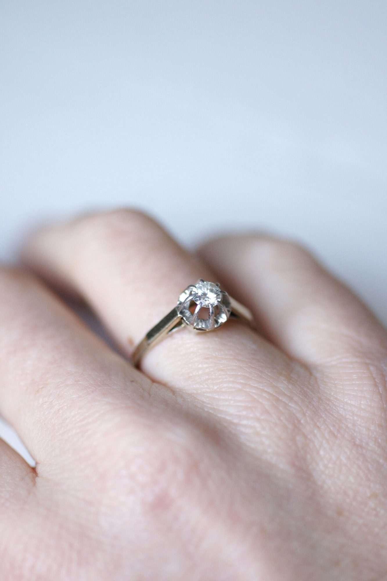Solitaire French Art Deco ring