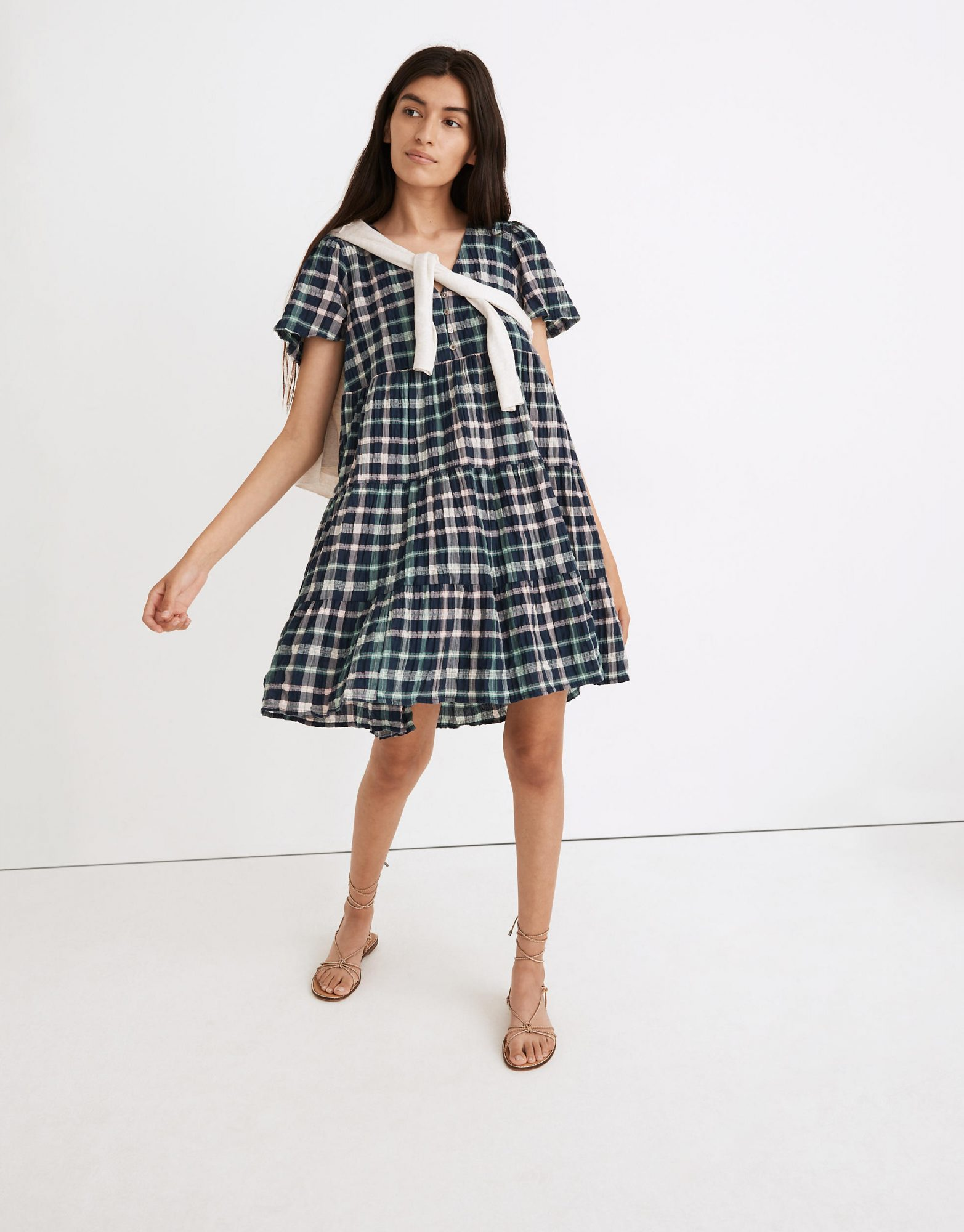 Madewell Plaid Button-Front Tiered Babydoll Dress