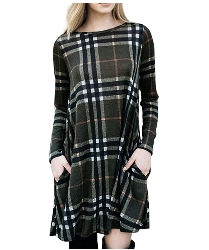 MIROL Women's Long Sleeve Plaid Color Block Dress with Pockets