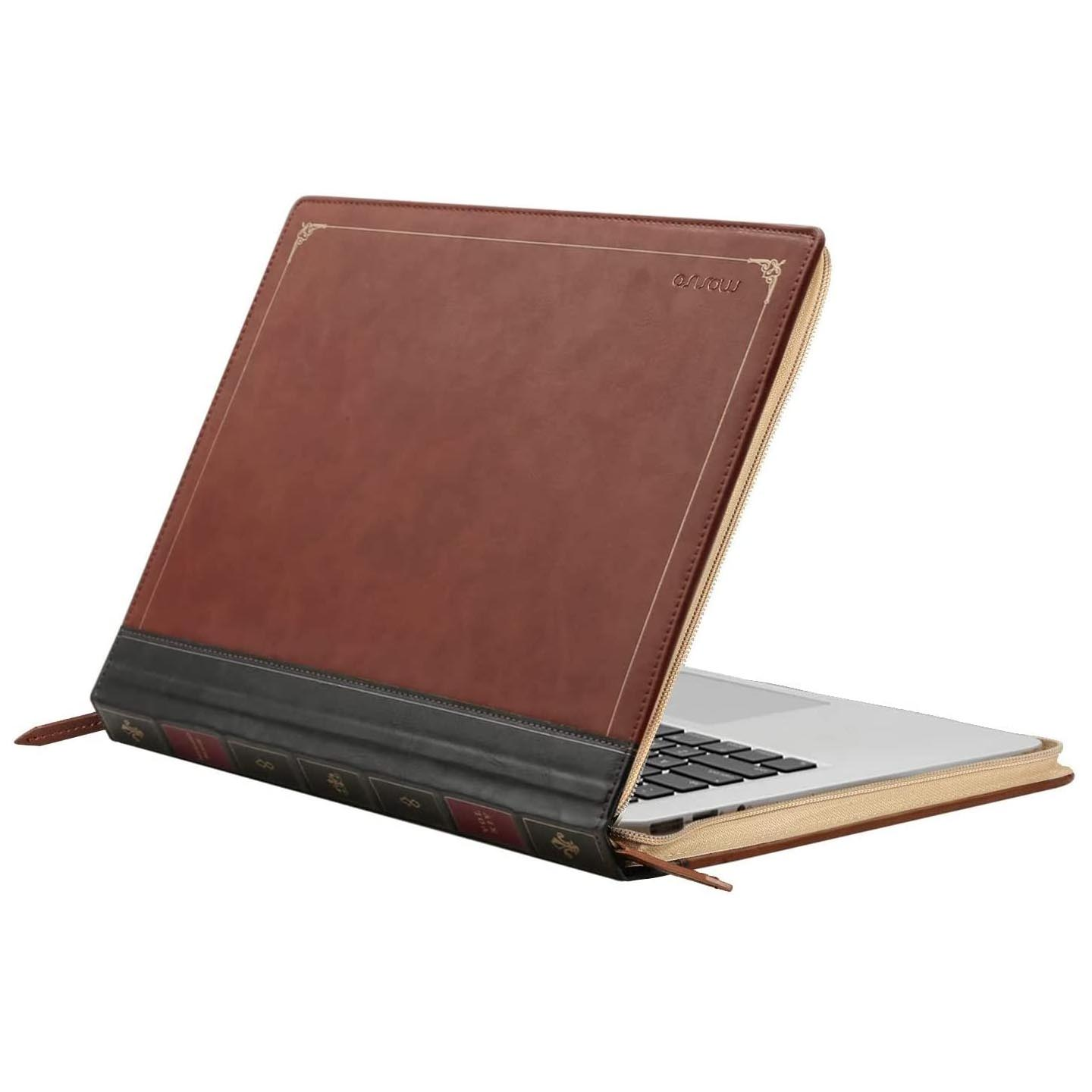 Leather-Bound Book Laptop Case