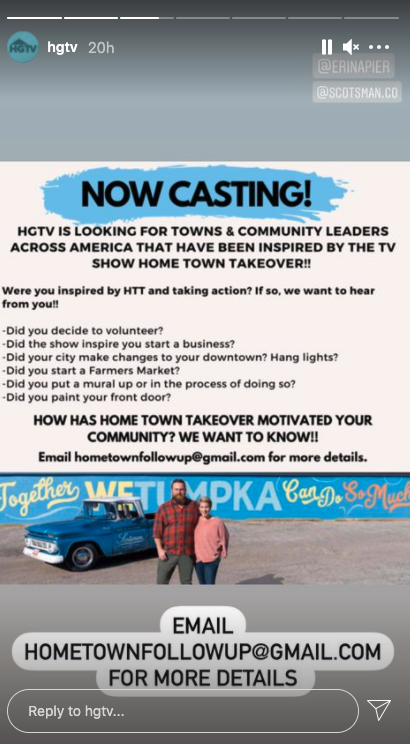 HGTV Instagram Story Casting Call Home Town Takeover