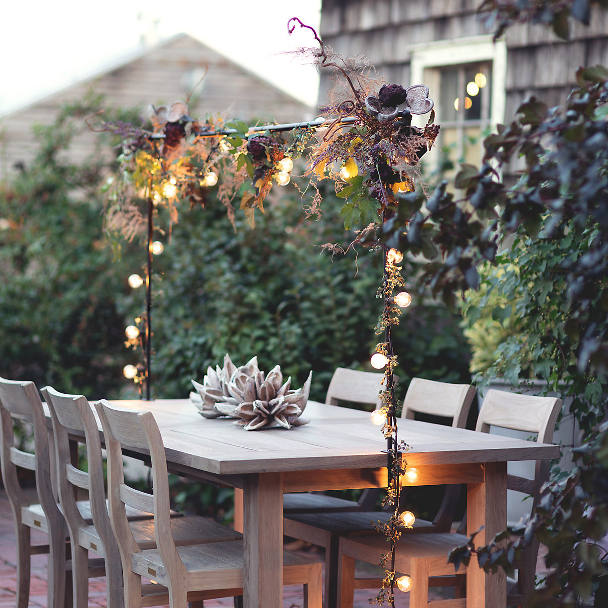over table rod + garland