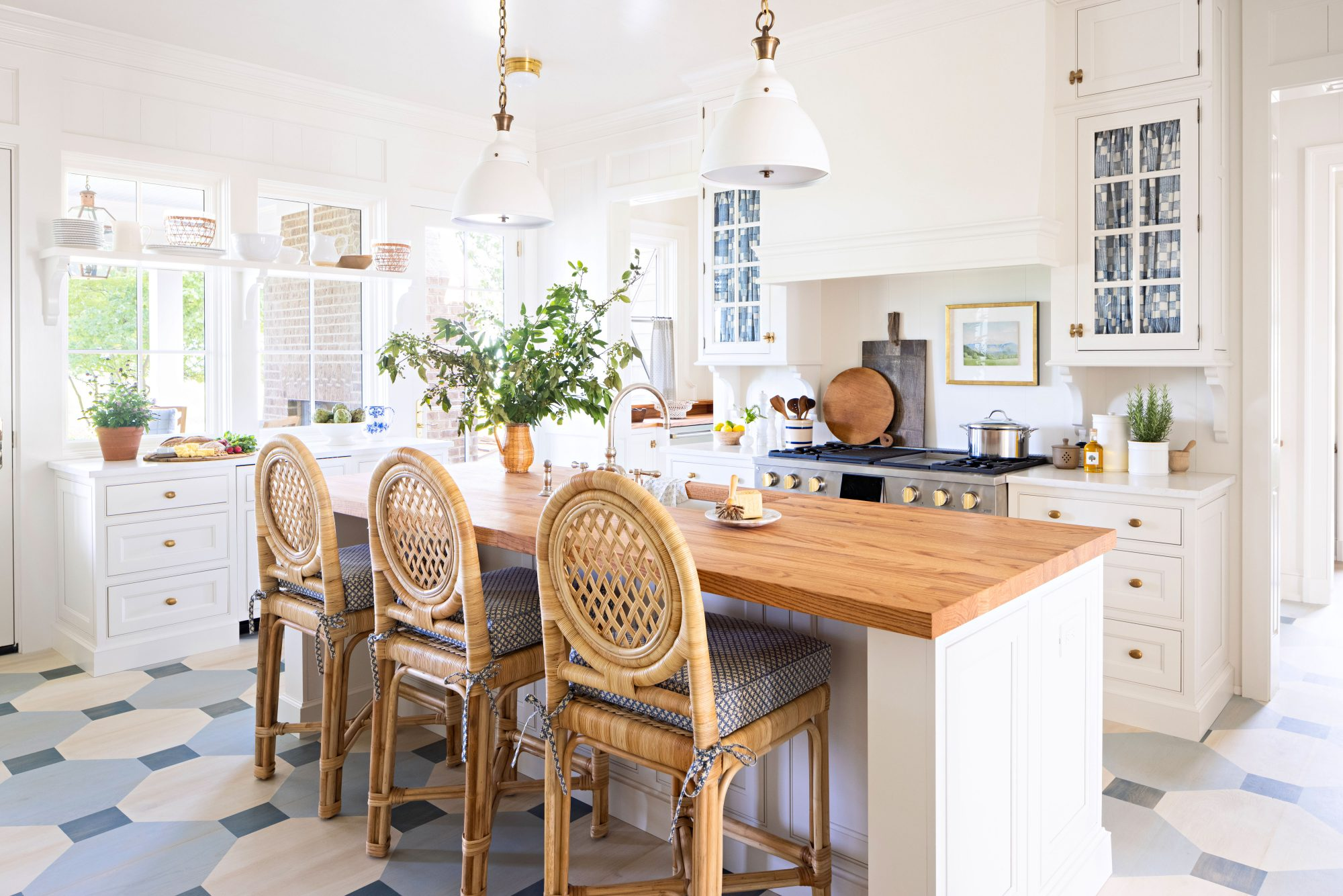 2021 Idea House Kitchen with White Walls and Painted Floor