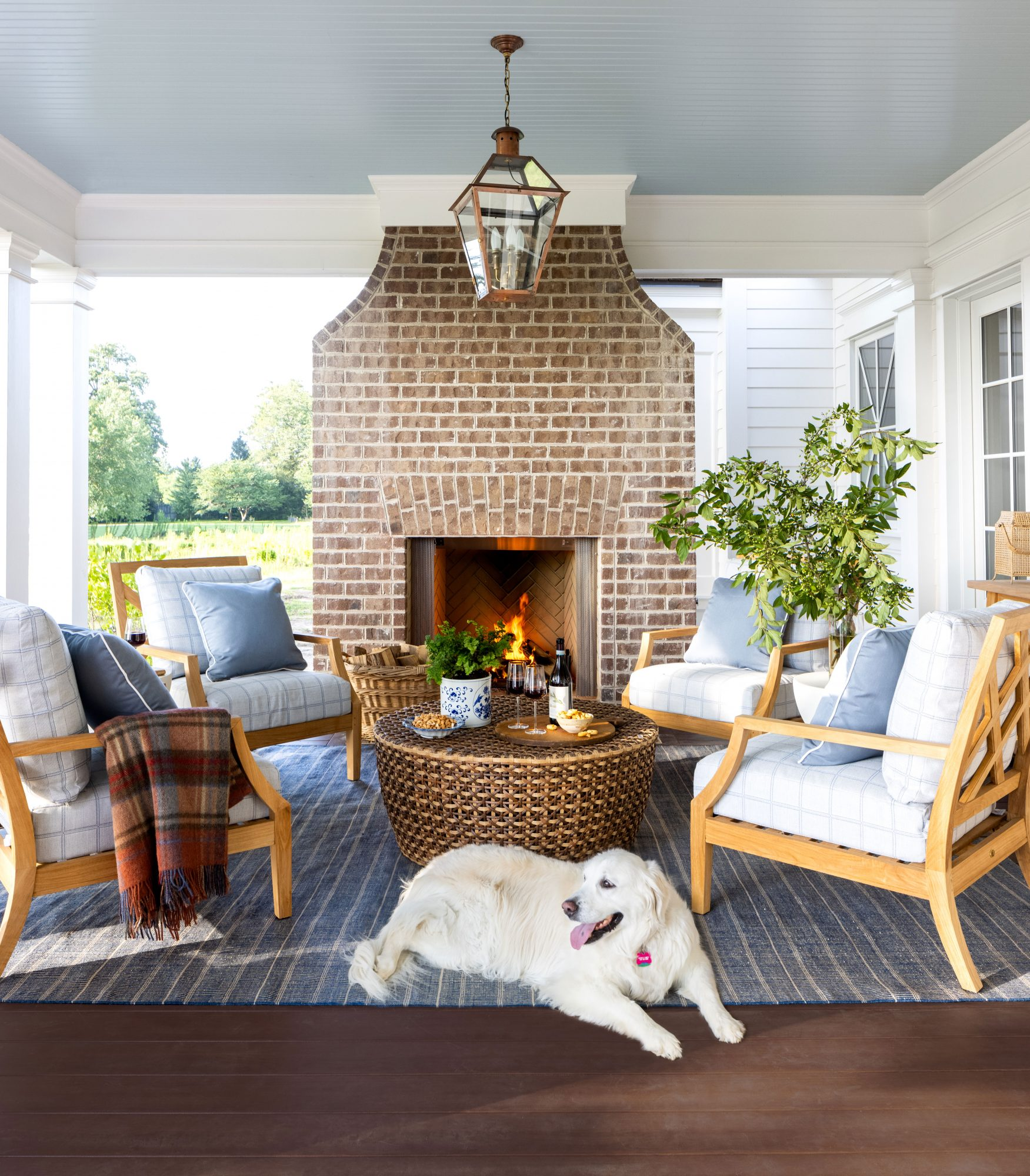 2021 Idea House Porch Fireplace Seating Area