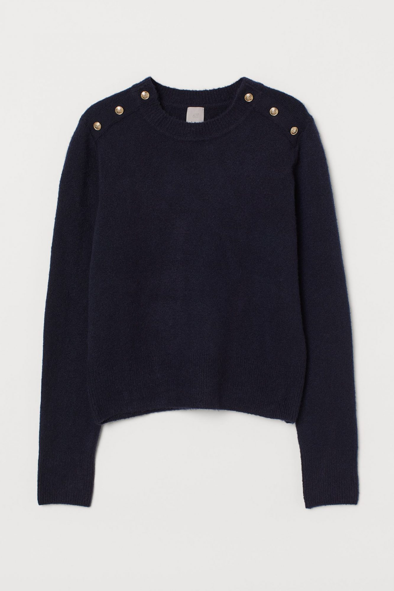 hm gold button sweater