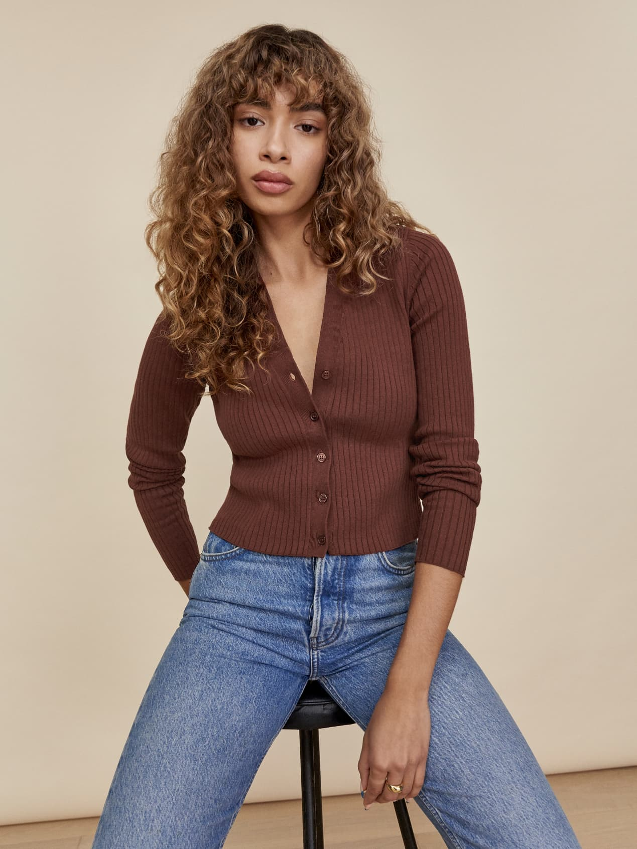 reformation button down ribbed sweater