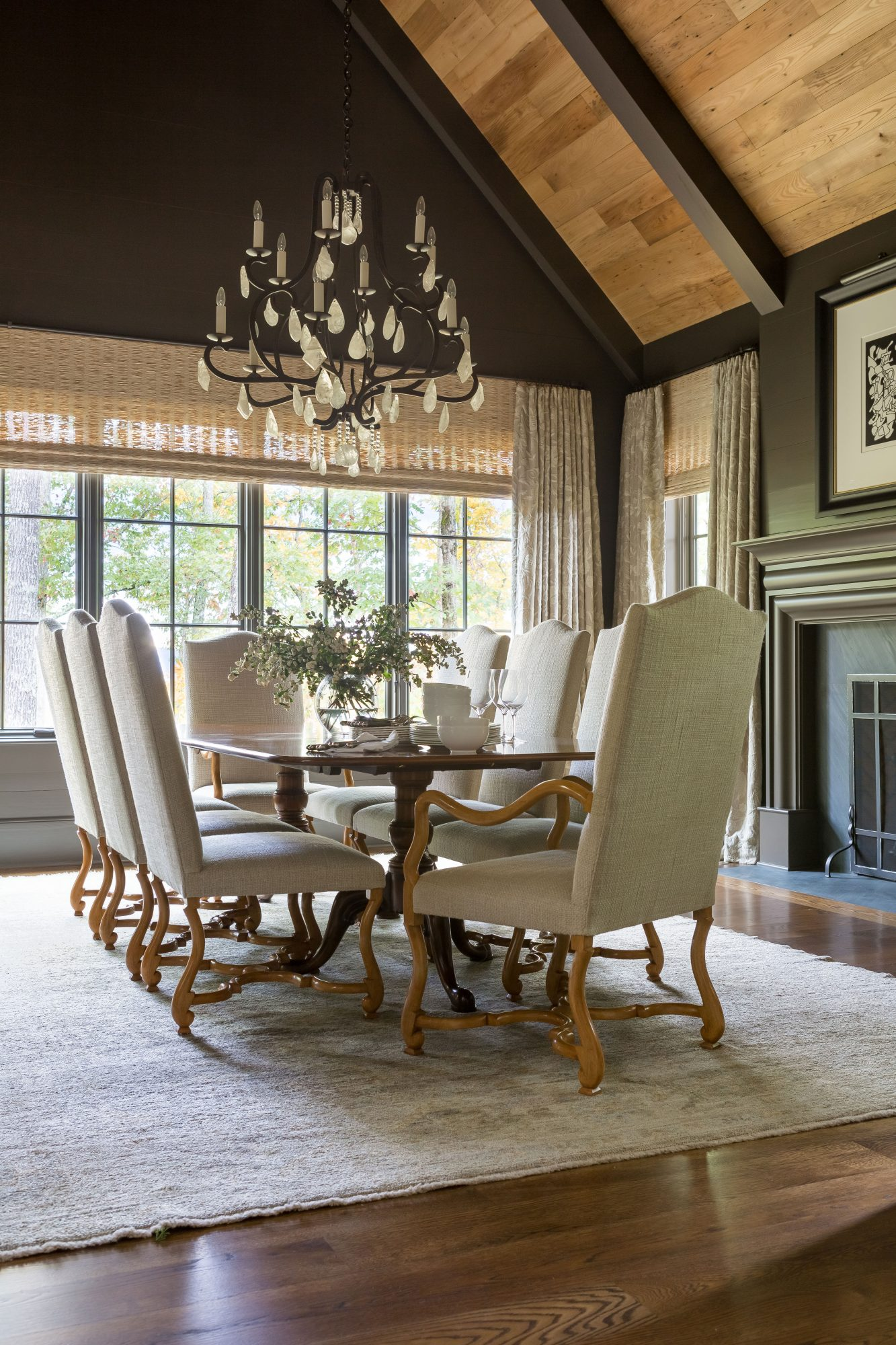 Dining Room with Rectangular Table and Vaulted Ceiling
