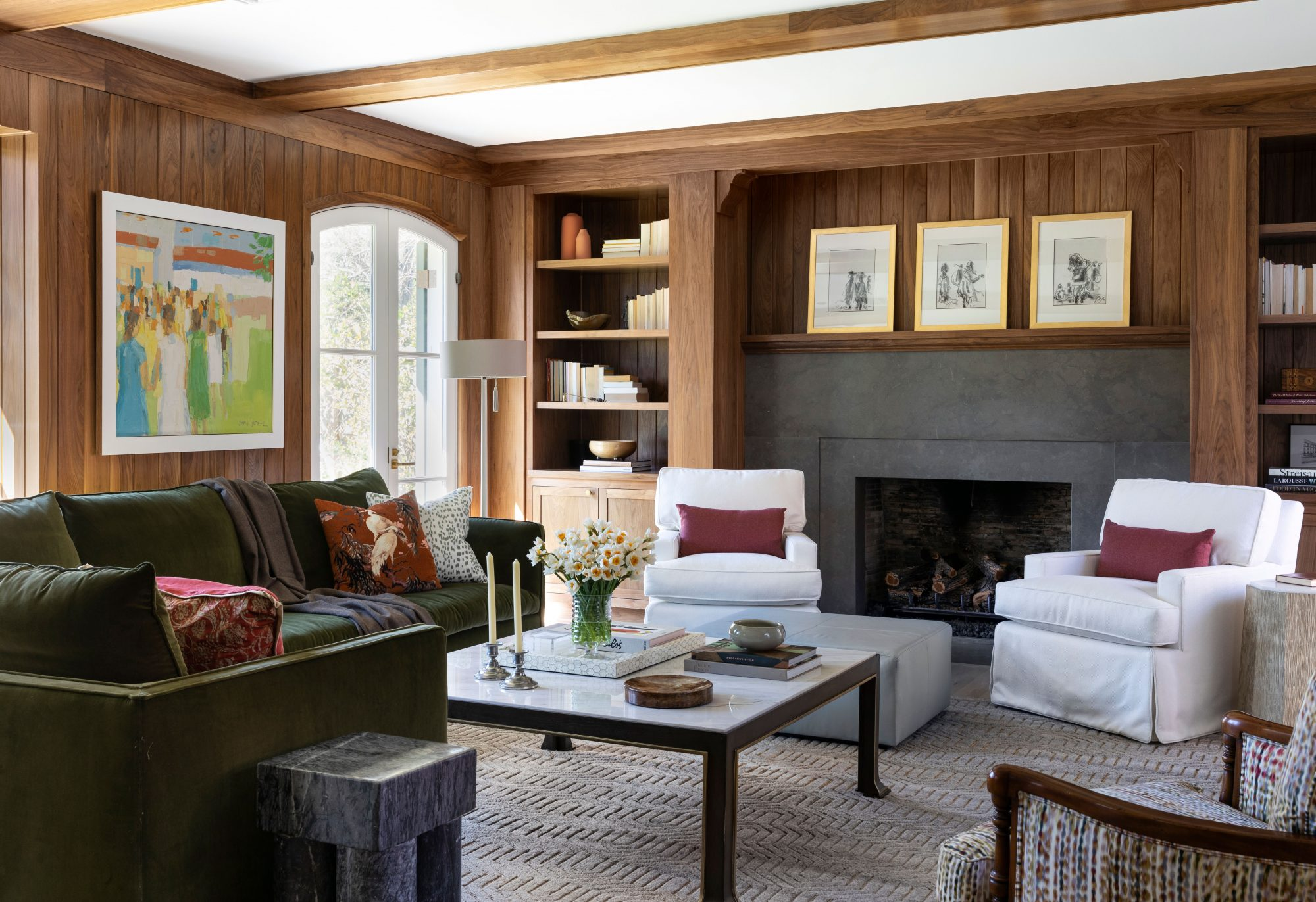 Living Room with Wood Paneled Walls