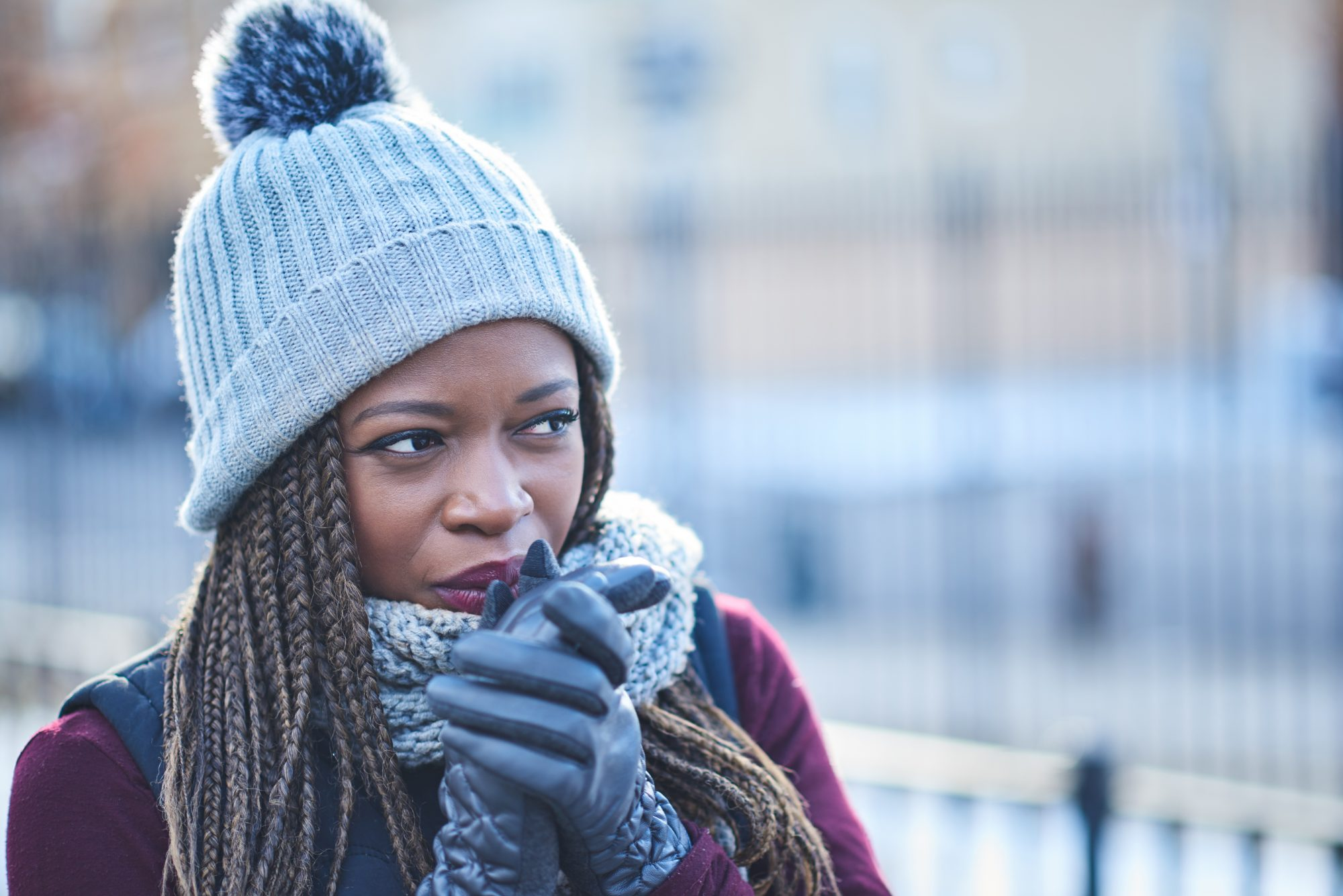 Black Woman Dressed for Cold Winter