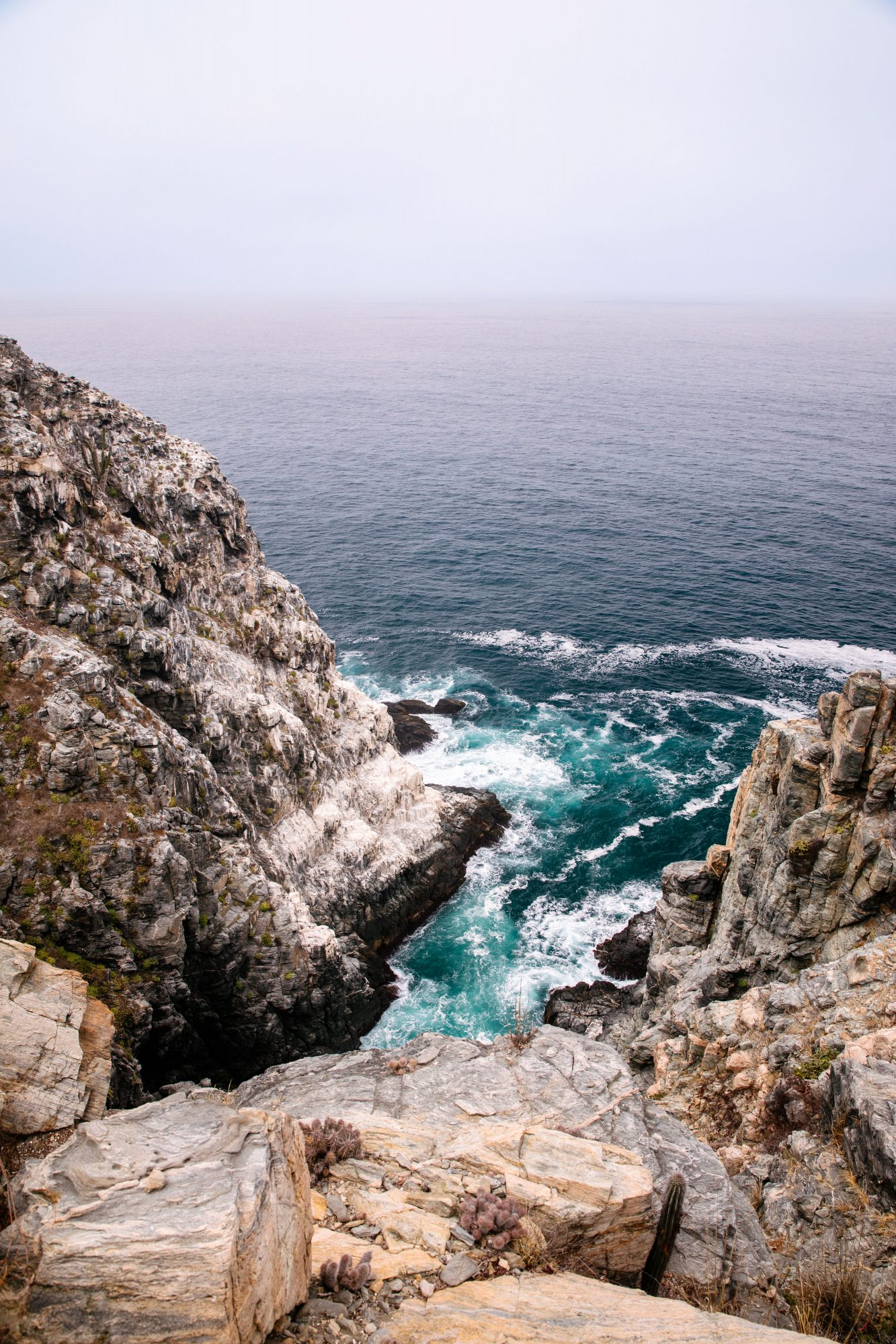 The Pacific Ocean as glimpsed from a blufftop hike in Todos Santos