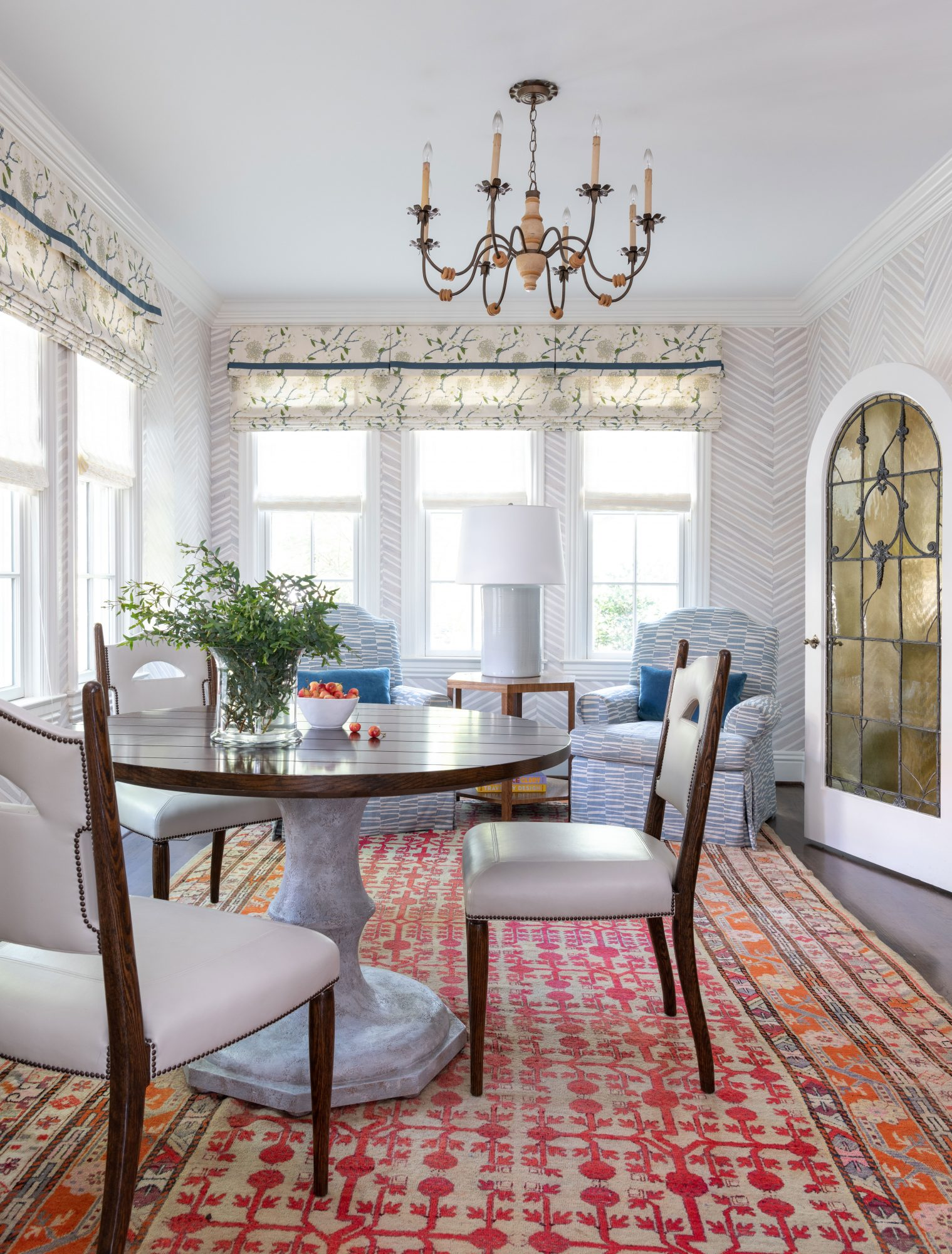 Sitting Area with Round Table and Three Chairs