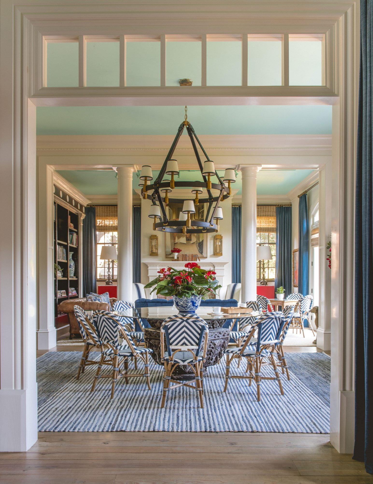 Dining room with Pillars and Red, White, and Blue Decor