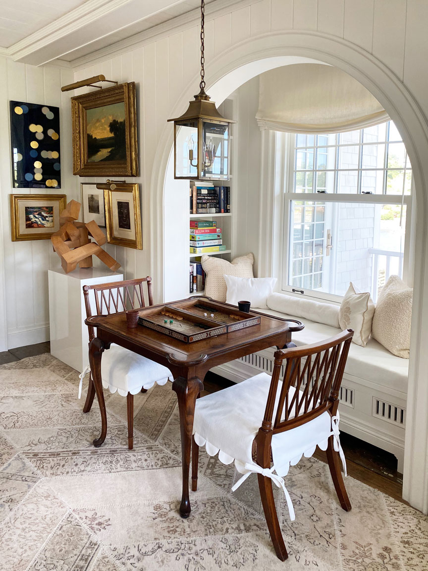 Game Table in Alcove with Window Seat