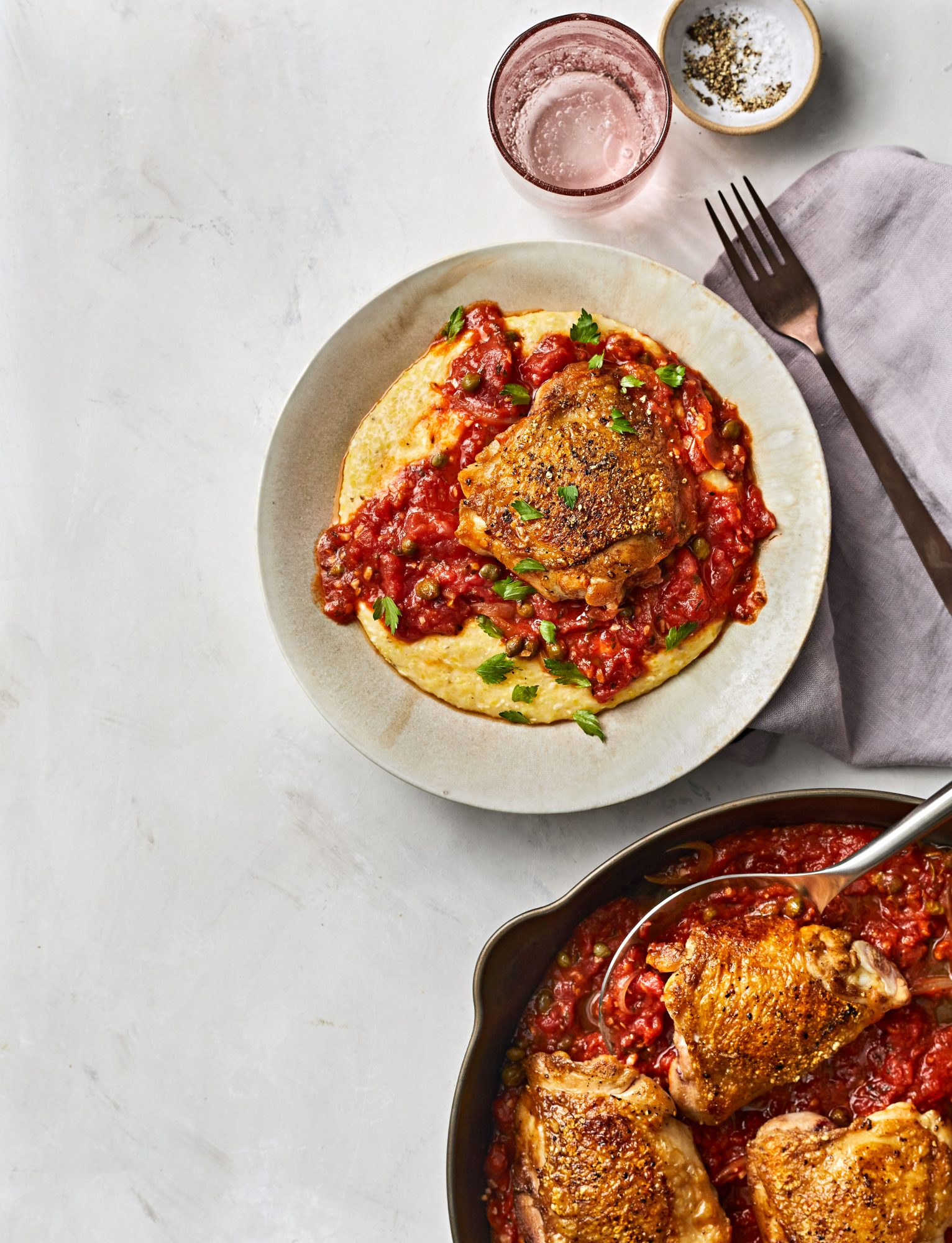 Chicken Thighs with Tomato-Caper Sauce