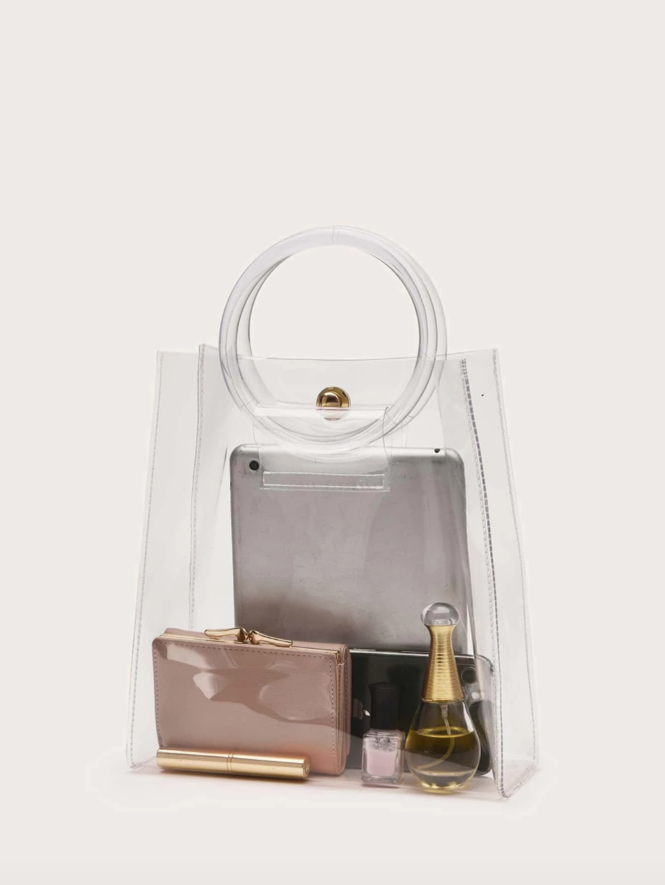 Clear Satchel Bag with Ring Handle