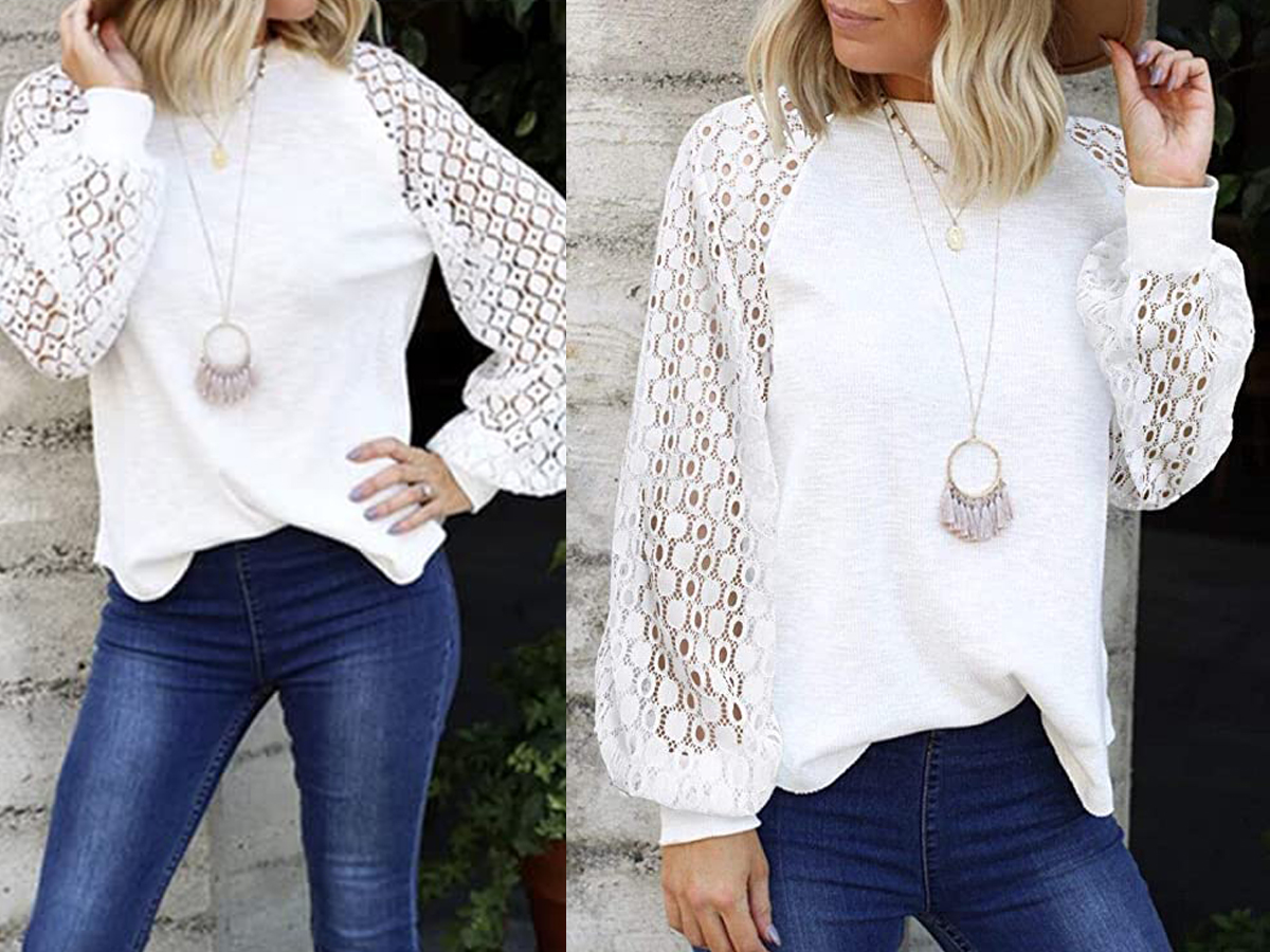 MIHOLL Women's Long Sleeve Tops Lace Casual Loose Blouses T Shirts