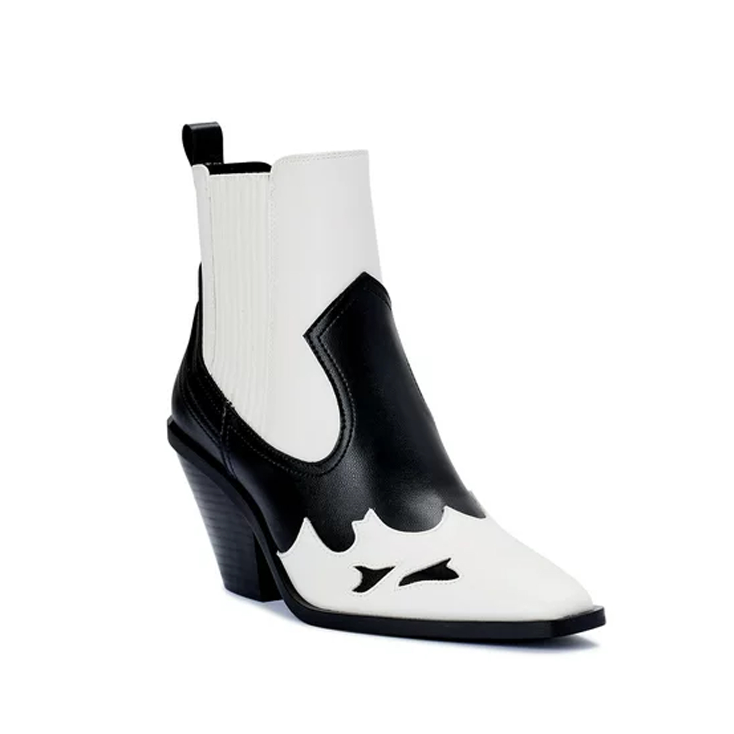 black and white western boots