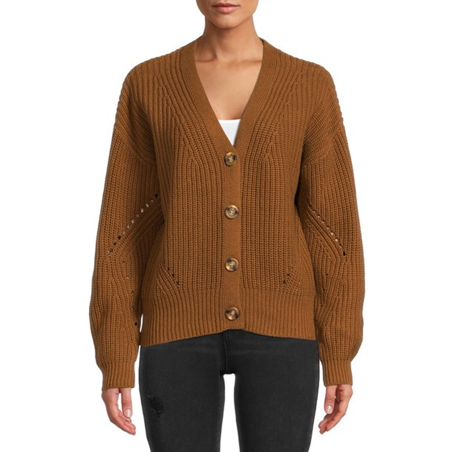 woman wearing brown cardigan and black jeans