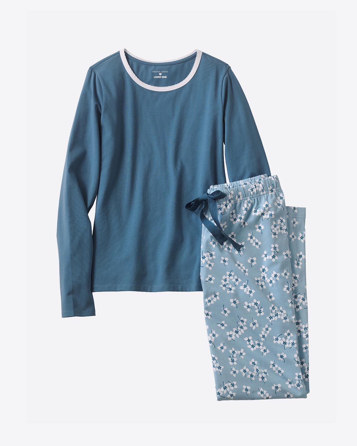 Knit Pajama Set in Floral Chambray