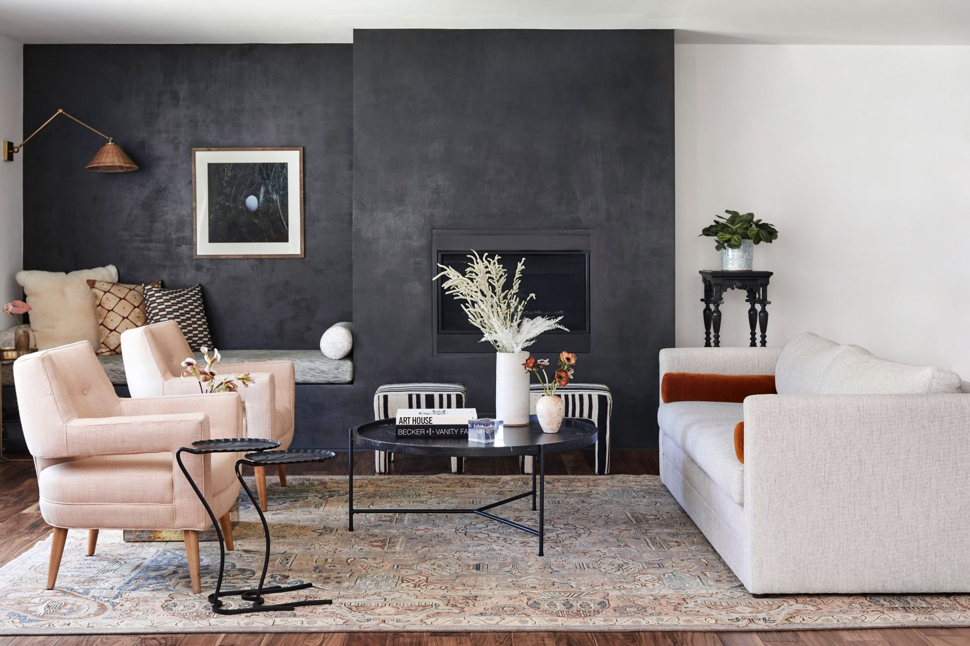 Portola Paints and Glazes Fade to Black Roman Clay in Living Room with Fireplace