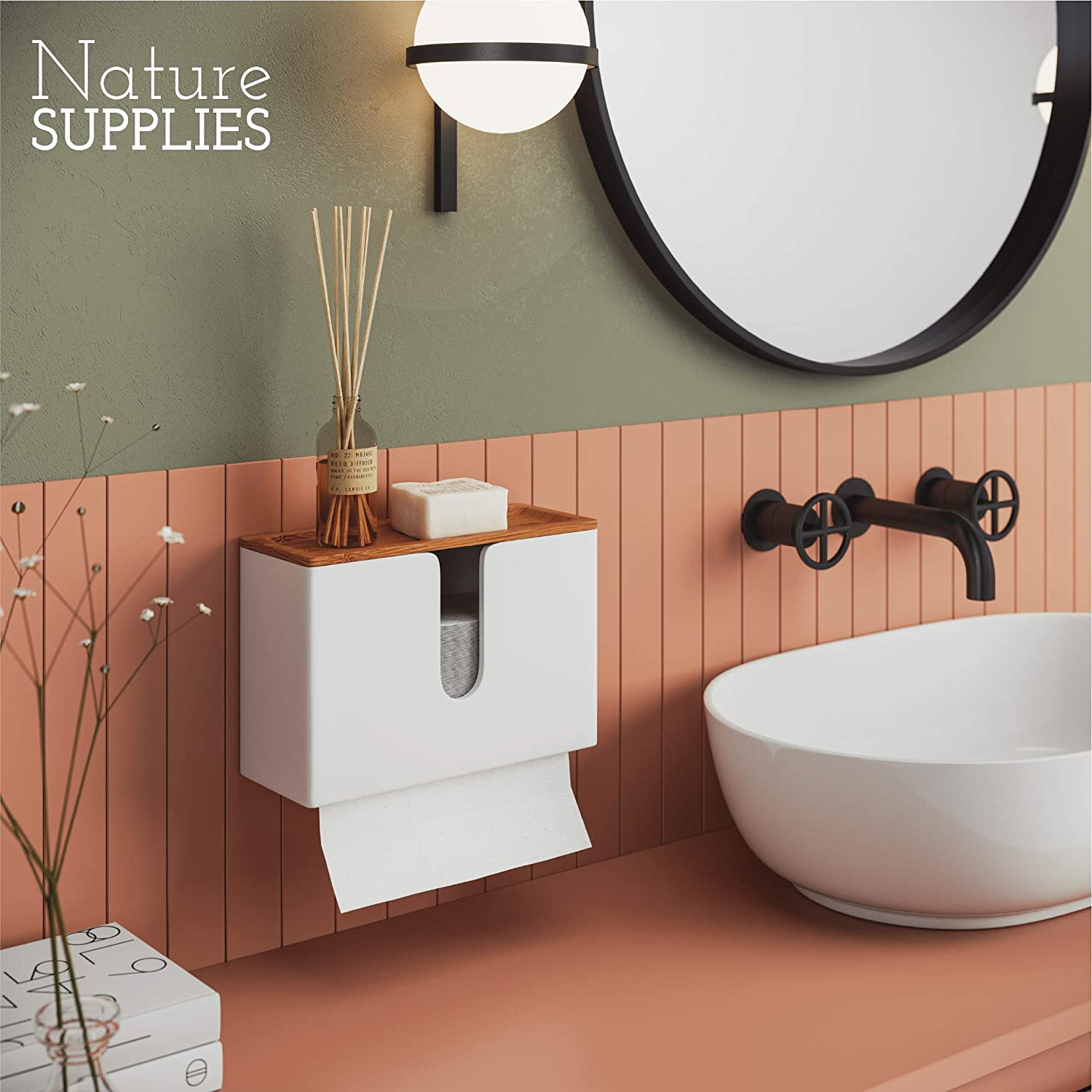 Nature Supplies Bamboo Paper Towel Dispenser with Removable Top Tray