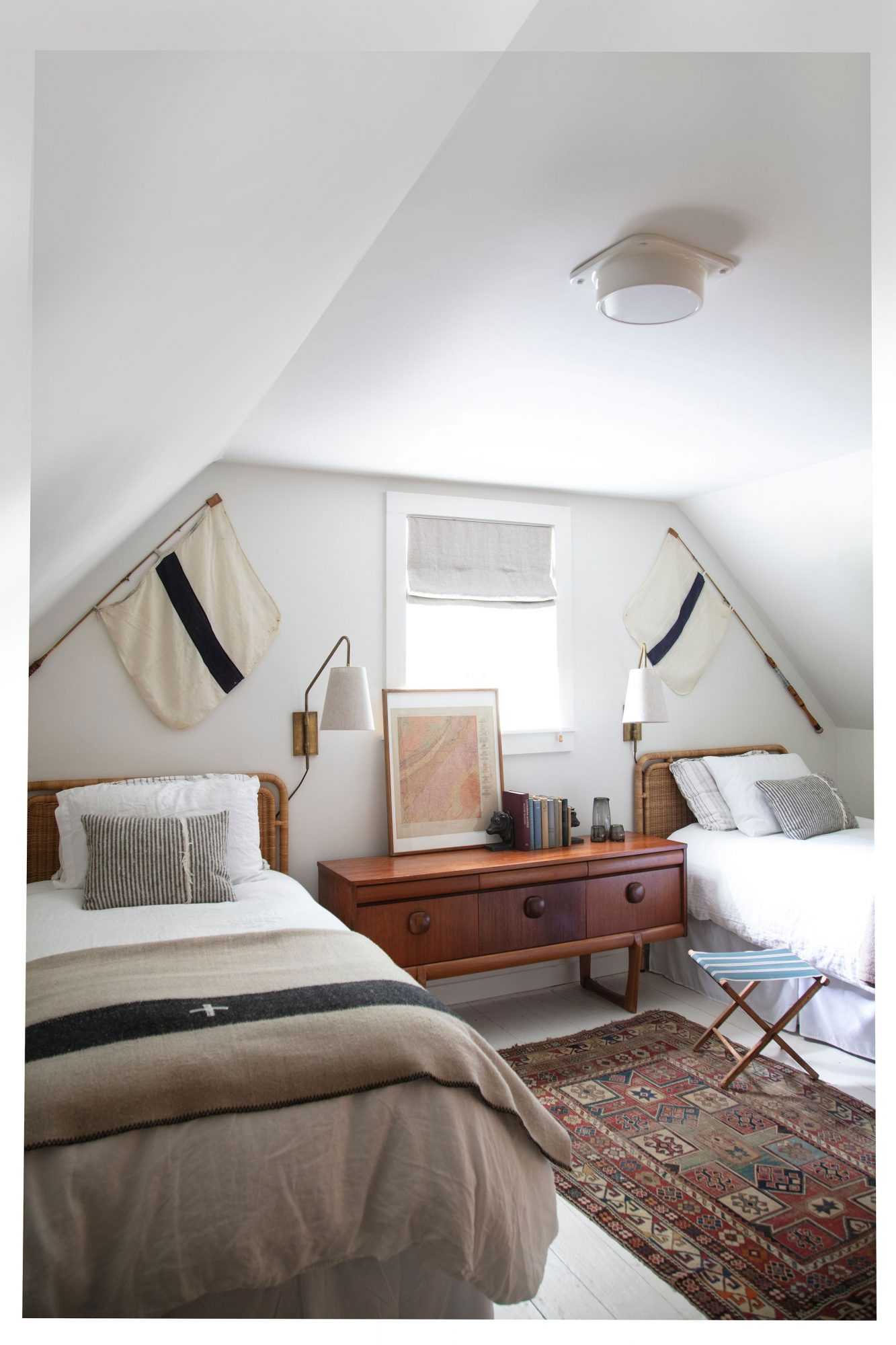 Attic Bedroom with Twin Beds and Flags